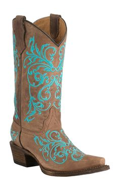 Corral Boot Company Youth Vintage Tan with Turqoise Vine Embroidery Snip Toe Western Boots | Cavender's