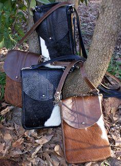 DAKOTA Cow Hide Crossbody Bag Caramel and White by margeandrudy