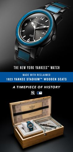 Yankee Baseball is a brotherhood of generations past, present and future. Introducing the New York Yankees Reclaimed Series from Original Grain. Handcrafted by artisans featuring reclaimed Yankee Stadium Wood from 1923. With limited materials, only 2008 watches were crafted. Commemorating the cathedral of baseball...the original Yankee Stadium. It's more than a timepiece. It's a piece of time.