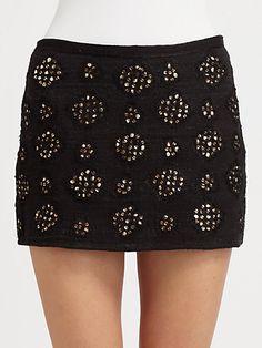 Interesting embellishment  Gryphon - Reflection Mini Skirt - Saks.com