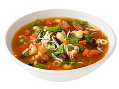 Minestrone Soup recipe from Ellie Krieger via Food Network. Love this soup but I add more veggies. Healthy Soup Recipes, Cooking Recipes, Healthy Food, Cooking Games, Drink Recipes, Healthy Meals, Salad Recipes, Clean Eating, Soup And Salad