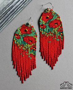 beaded earrings making Brick Stitch Earrings, Seed Bead Earrings, Beaded Earrings, Beaded Jewelry, Monet Earrings, Art Perle, Bead Art, Bead Weaving, Bead Earrings