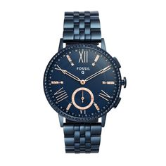 """Simply sparkling, our stylish Q Gazer hybrid looks like a watch, but acts like a smartwatch.Powered by the Fossil Q App, Fossil Q Hybrid Smartwatches are compatible with phones running Android™ OS 5.0+ or iPhone 5/iOS 9.0+.Q App is provided by Fossil Group, Inc. so your data will be stored in the USA. See the Q App Privacy Policy and Terms of Use for more information (accessible below at """"Customer Care"""")."""