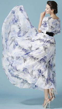 Multi Leaf Print Layered Sleeve Belt Waist Maxi Dress