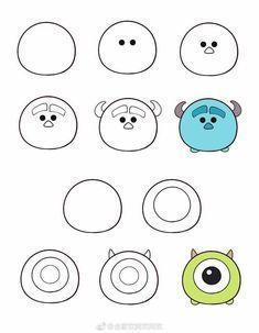 ideas for cute art drawings Cute Disney Drawings, Cute Easy Drawings, Kawaii Drawings, Doodle Drawings, Doodle Art For Beginners, Easy Doodle Art, Easy Drawings For Beginners, How To Doodle, Doodle Doodle
