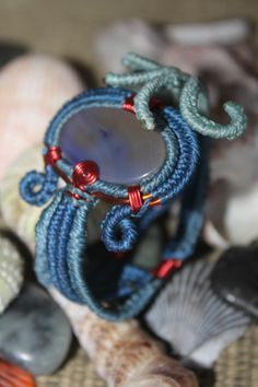 la sirena brazalete ajustable piedra: agata tecnica: alambre y macrame