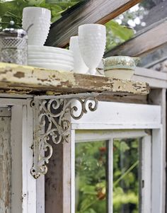 Glamorous Garden Shed Makeover - Shabby Chic She Shed Decorating Outdoor Garden Furniture, Furniture Decor, Shabby Chic Homes, Shabby Chic Decor, Outdoor Shelves, Unique Shelves, Rustic Shelves, Vintage Shelving, Metal Shelving