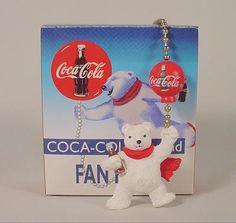 Coke Coca Cola Polar Bear with Balloon Ceiling Fan Lamp Chain Pull