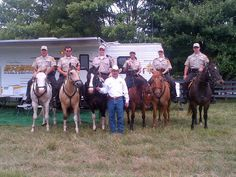 Mounted Unit - DeKalb County Sheriff's Office - Fort Payne, Alabama - Western tack, uniforms of tan shirts and brown pants - Police Horse Tack
