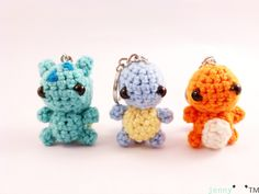 crochet keychain  Kanto starters pokemon inspired by jennybeartm, $40.00