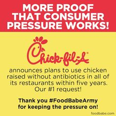 We Did It Again! Chick-fil-A To Go Antibiotic Free! Chick-fil-A publicly committed to become antibiotic-free within 5 years. A bold move for a major fast food company that serves only chicken. What will be the next domino to fall?