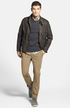 Barbour Waxed Cotton Jacket, Jeremiah French Terry Sweatshirt, Quiksilver Short Sleeve Sport Shirt & Ted Baker London Slim Fit Chinos  available at #Nordstrom