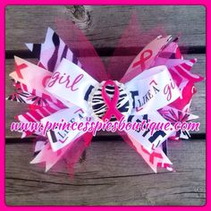 Breast Cancer Awareness Pink Ribbon Little Girl Baby Hair Bow on Etsy, $10.00