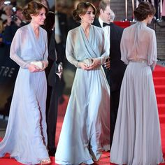 A premiere for a princess! The Duchess of Cambridge went bra-less in a semi-sheer gown by her favoured designer Jenny Packham 10.26.15 #007 #JamesBond #Spectre via DailyMail