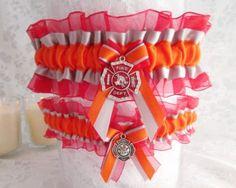 Firefighter Wedding garter set  Firefighter by CreativeGarters