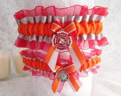 Firefighter Wedding garter set  Firefighter by CreativeGarters