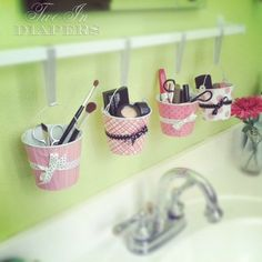 Cute DIY makeup storage idea! and many other uses as well...great for soon sharing a bathroom space...hmmm....
