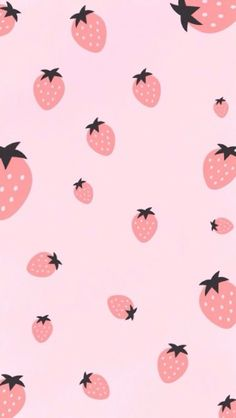 Super Cute Pastel Strawberry Pattern Perfect As A Smartphone Wallpaper