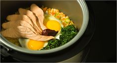 Rice Cooker Bibimbap With Salmon and Spinach