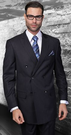 Statement Italian Wool Double Breasted Suits Navy Pinstripe TZD-300