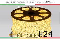 StripLED 220V al metro 5050SMD 14,4W/mt IP44 - 4000°K