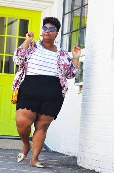 Plus size shorts. Thick thighs floral. Stripes. Full figure fashion. Plus size summer style
