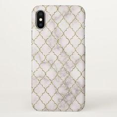 Elegant White Marble and Gold Quatrefoil Pattern iPhone X Case - elegant gifts gift ideas custom presents