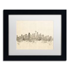 Michael Tompsett 'Seattle Skyline Sheet Music' White Matte, Framed Wall Art