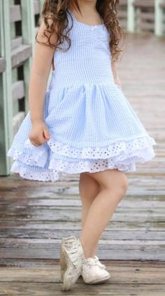 98d20079d884 Blue and White Lace Dress. What an adorable dress for a little girl.  Sapphire Crunch · Cute Baby Stuff