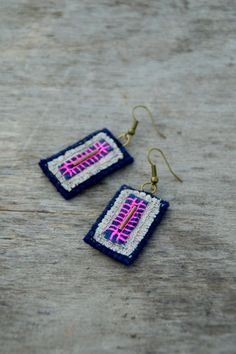 Dark blue & pink woolen and linen textile earrings with by Mioltu, €18.00