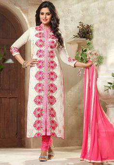 Embroidered Georgette Straight Cut Suit in Off White