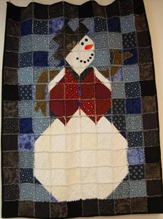 Snowman Rag Quilt--- I have a small collection of fabrics started to make this.  Maybe for Christmas season 2012?