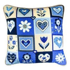 Hearts & Flowers in Blue Needlepoint Kit Needlepoint Christmas Stocking Kits, Needlepoint Stockings, Needlepoint Pillows, Needlepoint Canvases, Needlepoint Designs, Needlepoint Kits, Beaded Cross Stitch, Cross Stitch Patterns, Tent Stitch