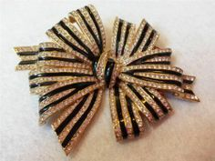 Ciner Signed Large Bow Clear Rhinestones Black Enamel Gold Tone Brooch Pin | eBay