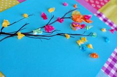 Colorful Spring Branch Craft - so bright & cheerful! :-) Spring Crafts For Kids, Summer Crafts, Kids Crafts, Projects For Kids, Toddler Crafts, Art For Kids, Family Crafts, Art Projects, Spring Activities