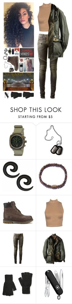 """""""Criminal Minds OC: A walk in the park"""" by mermer1324 ❤ liked on Polyvore featuring Trevco, Nokia, Briston, We Are All Smith, Timberland, Balmain, Barbour, Aéropostale and Victorinox Swiss Army"""