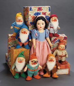 *SNOW WHITE and the SEVEN DWARF's, 1937...English Cloth Snow White and Seven Dwarves by Chad Valley with Original Boxes