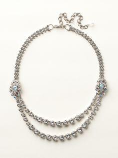 Double Strand Cluster Accent Line Necklace in White Bridal - Sorrelli.#idosorrelli #sorrellibridalcontest