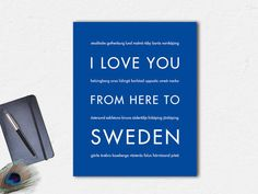 I Love You From Here To SWEDEN travel art
