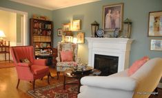 Interior Design for a Nashville Living Room and a Few Designer Secrets for You! - The Decorologist Condo Living Room, Living Room Update, Formal Living Rooms, Living Room Furniture, Living Spaces, Coral Furniture, Cottage Living, Painted Furniture, Blue Wall Colors