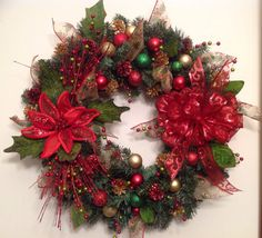 Traditional Red & Green Holiday Wreath by CustomCreationsMore