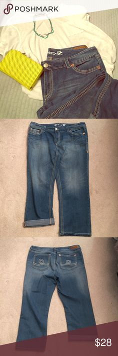 """Seven 7 💎💎22 20 luxe boyfriend jeans 💌💌 Seven 7 Luxe super comfy boyfriend style jeans - these were my favs till they kept falling off! 79% cotton, 20% polyester, 1% spandex - love the bold stitching - looks great with boots! I mainly wore rolled up but definitely can do unrolled. Silver button at fly, copper around pockets. Inseam is 26"""", waist is 20"""" flat. Beautiful distressed areas! Lots of wear left - no holes, rips, stains. Seven7 Jeans Boyfriend"""