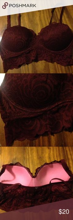 """PINK Victoria Secret maroon lace bra Size small great condition. Lace extends about 1"""" past cups. Any questions please ask before you buy!! PINK Victoria's Secret Intimates & Sleepwear Bras"""