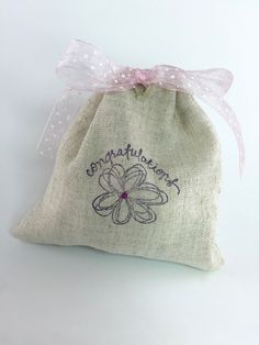 "Party Favor Bag - Stamped ""Congratulations""- Embroidered  detail- Reusable Drawstring - Linen Look gifts, treats, jewelry and more! by SpanishVelvet on Etsy"