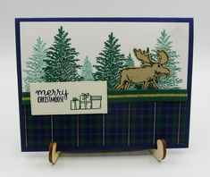 stampin Up Merry Moose stamp set Moose Punch Stitched Rectangles Dies Wrapped in Plaid designer series paper – Debra Simonis Stampinup – Deb's Stampin' Grounds Winter Karten, Christmas Moose, Moose Hunting, Pheasant Hunting, Turkey Hunting, Archery Hunting, Stampin Up Christmas, Animal Cards, Winter Cards