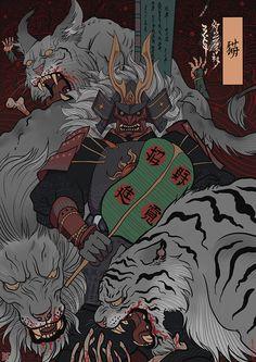 Japan mystic samurai rabbit war tiger undead battle end mist_xg Japanese Art Prints, Japanese Art Modern, Japanese Artwork, Japanese Tattoo Art, Fantasy Paintings, Fantasy Art, Samurai Wallpaper, Character Art, Character Design