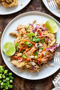 This healthier spaghetti squash pad thai is easy to make at home and packed with veggies, chicken, and a flavorful sauce. It comes together in 30 minutes and the leftovers are perfect for lunches the next day! Paleo, family friendly and low carb. Easy Whole 30 Recipes, Whole Food Recipes, Paleo Dinner, Dinner Recipes, Courge Spaghetti, Paleo Recipes, Paleo Food, Healthy Foods, Paleo Meals