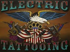 Electric Tattooing by Gustavo Rimada Canvas Art Print Eagle Roses American Flag
