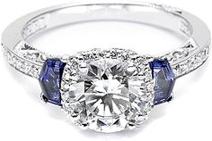 Tacori Sapphire Shield-Cut & Pave Diamond Engagement Ring  : This stunning Tacori engagement ring setting features two shield-cut sapphires as well as round pave-set diamonds surrounding your choice of a center diamond as well as on the band.