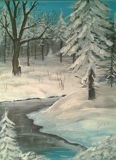 Malkurs online: Winterwald mit kleinem Fluss. Kostenlose Schritt für Schritt Anleitung für das Malen mit Acrylfarben anhand dieses Winterbildes.